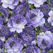 Enchanted - Packed Roses Purple Metallic Yardage