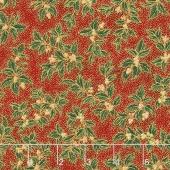 Holiday Flourish 10 - Holiday Small Holly Crimson Metallic Yardage