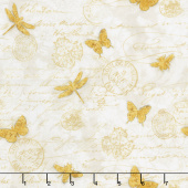 Hydrangea Dreams - Gilded Butterflies Ivory Yardage
