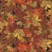 Bountiful - Fall Leaves Metallic Yardage