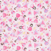 Novelty - Glitter Pink Princesses Pink Yardage