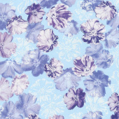 Violet Twilight - Shimmery Blossoms Aqua Pearlized Yardage