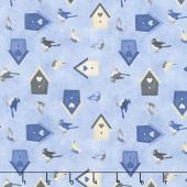 Welcome Winter - Birds and Birdhouses Medium Blue Yardage
