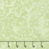Poinsettia & Pine - Elegant Scrolls Light Green Yardage