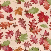 Colors of Fall - Tossed Leaves Tan Yardage