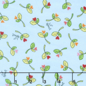 Lil' Sprout Too! - Sprouts n' Hearts Tossed Blue Flannel Yardage