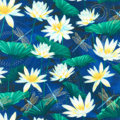 Moonlight Serenade - Moonlit Garden Indigo Emerald Metallic Yardage