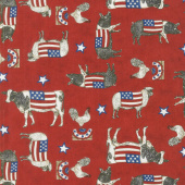 Land That I Love - Patriotic Farm Animals Red Yardage