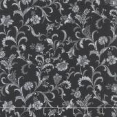 Lilacs in Bloom - Vine Scroll Black Yardage