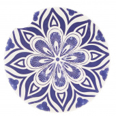 Indigo Patterns Car Coaster - Flower Burst Medallion