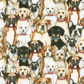 Faithful Friend - Dog Collage Ecru Yardage