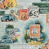 Nicole's Prints - Get Your Kicks (on  Route 66) Green Yardage