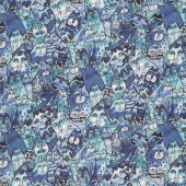 Feline Frolic - Packed Cats Royal Blue Metallic Yardage