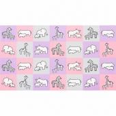 Little Safari - Pink Colorstory Safari Animal Pink Flannel Panel