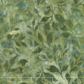 Artisan Batiks - Summer Flowers Leaves Green Yardage