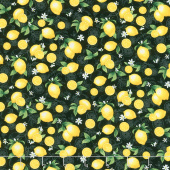 Splash of Lemon - Small Etched Lemons Black Yardage