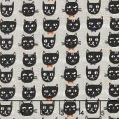 Cats, Bats and Jacks - Cats Gray Glow In The Dark Yardage