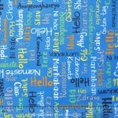 We Share One World - Words Blue Yardage