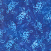 Artisan Batiks - Totally Tropical Turtles Blue Yardage