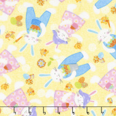 Carrot Patch - Tossed Bunnies Yellow Yardage