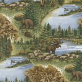 Return to Cub Lake - Cub Lake Scenic Golden Flannel Yardage