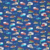American Road Trip - Vehicles Blue Yardage