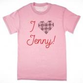 I Love Jenny Rhinestone Heart Soft Pink T-Shirt - Medium