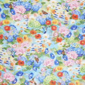 Vibrant Garden - Birds Butterflies Garden Digitally Printed Yardage
