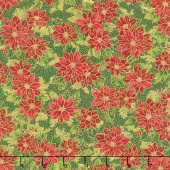 Poinsettias and Pine Metallic - Poinsettias Evergreen Yardage