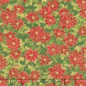 Poinsettias and Pine Metallic - Poinsettias Evergreen Yardage
