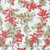 Winter White 3 - Winter Berries Winter Metallic Yardage