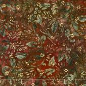 Artisan Batiks - Northwoods 6 Holly Berry Chickadees Cranberry Metallic Yardage