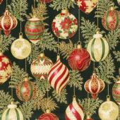 Holiday Flourish 11 - Holiday Ornaments Black Metallic Yardage