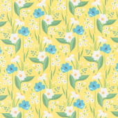 Cora - Happy Floral Yellow Yardage