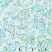 Fairy Slipper Batiks - Paisley Floral Sea Mist Yardage