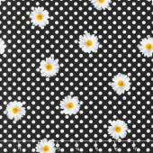 Oops A Daisy - Daisy Dot White on Black Yardage
