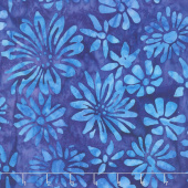 Artisan Batiks - Bright Blooms Flowers Blue Yardage