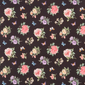 Botanica - Small Floral Toss Black Multi Digitally Printed Yardage