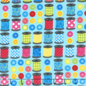 Sew Excited - Spools of Fun Turquoise Yardage