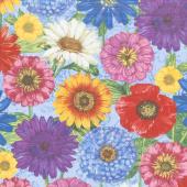 Blossom & Bloom - Blossomed Blooms Blue Yardage