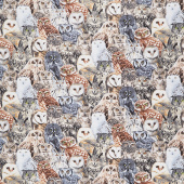 Animals - Packed Realistic Owls Multi Yardage