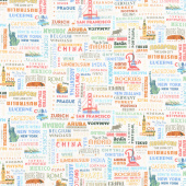 Destinations - Of the World Text Cream Yardage