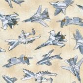 Novelty - Fighter Planes Tan Yardage