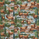 Animals - Elks in Creek Multi Yardage