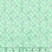 Nana Mae IV - Tossed Elephants on Plaid Green Yardage