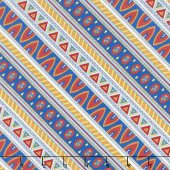 Arctic Wonderland - Diagonal Stripe Blue/Red Yardage