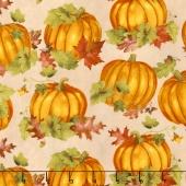Colors of Fall - Pumpkins and Leaves Tan Yardage