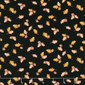 Autumn Day - Leaves and Acorns Black Yardage