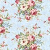 Vintage Rose - Floral Bouquet Blue Yardage