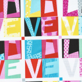 Big Love - Love Blocks Black/Pink Yardage